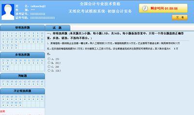 初级会计职称无纸化考试模拟系统 答题界面